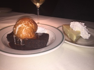 Dessert! Gluten-free brownie sundae and key lime pie