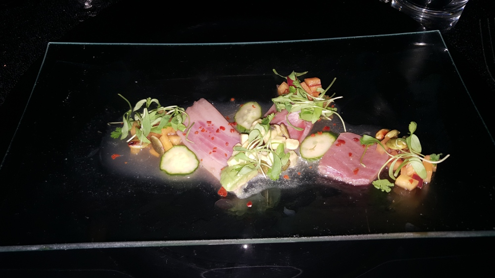 COURSE 1: Tuna Crudo, Peach Soy, Avocado, Cucumber, Toasted Peppers, Toasted Pumpkin Seed, Sesame