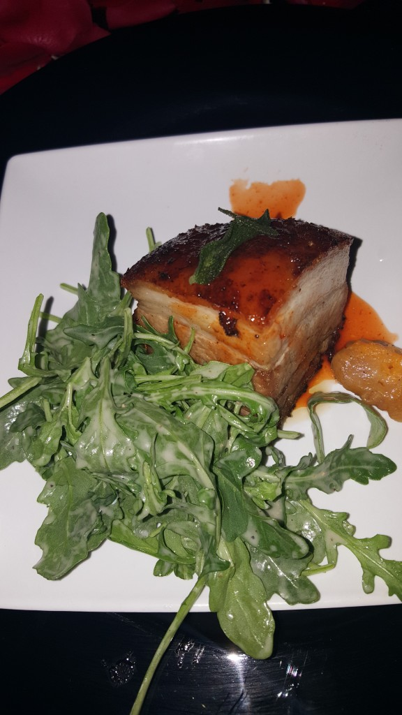 COURSE FOUR: Crispy Pork Belly, Sweet Potato Gnocci, Brown Butter Sage Sauce, Fried Sage, Sriracha Honey Reduction