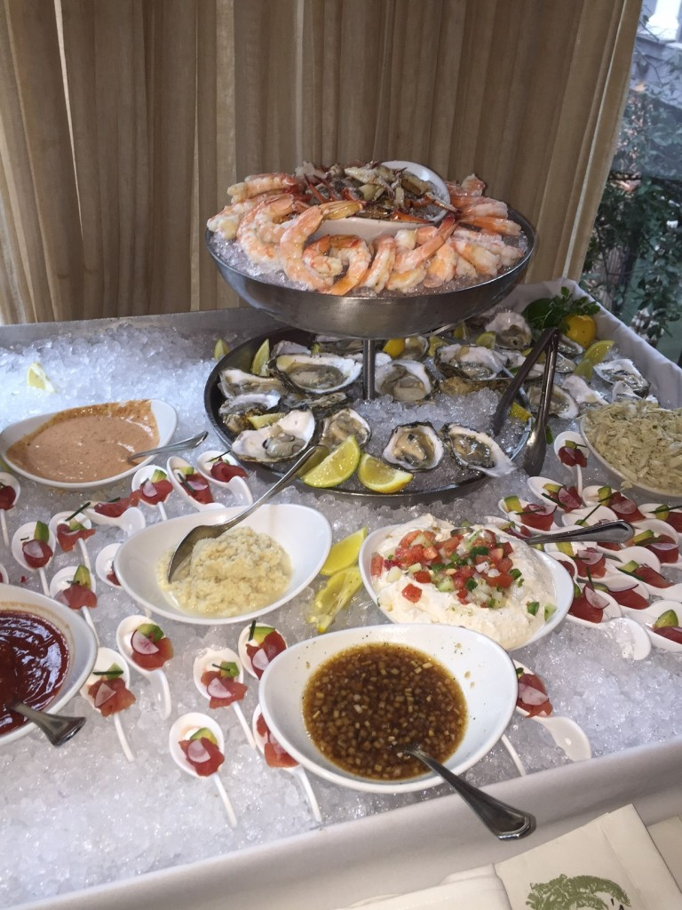 Grand Platter: boiled shrimp, Creole lobster, crab claws, smoked catfish dip, oysters