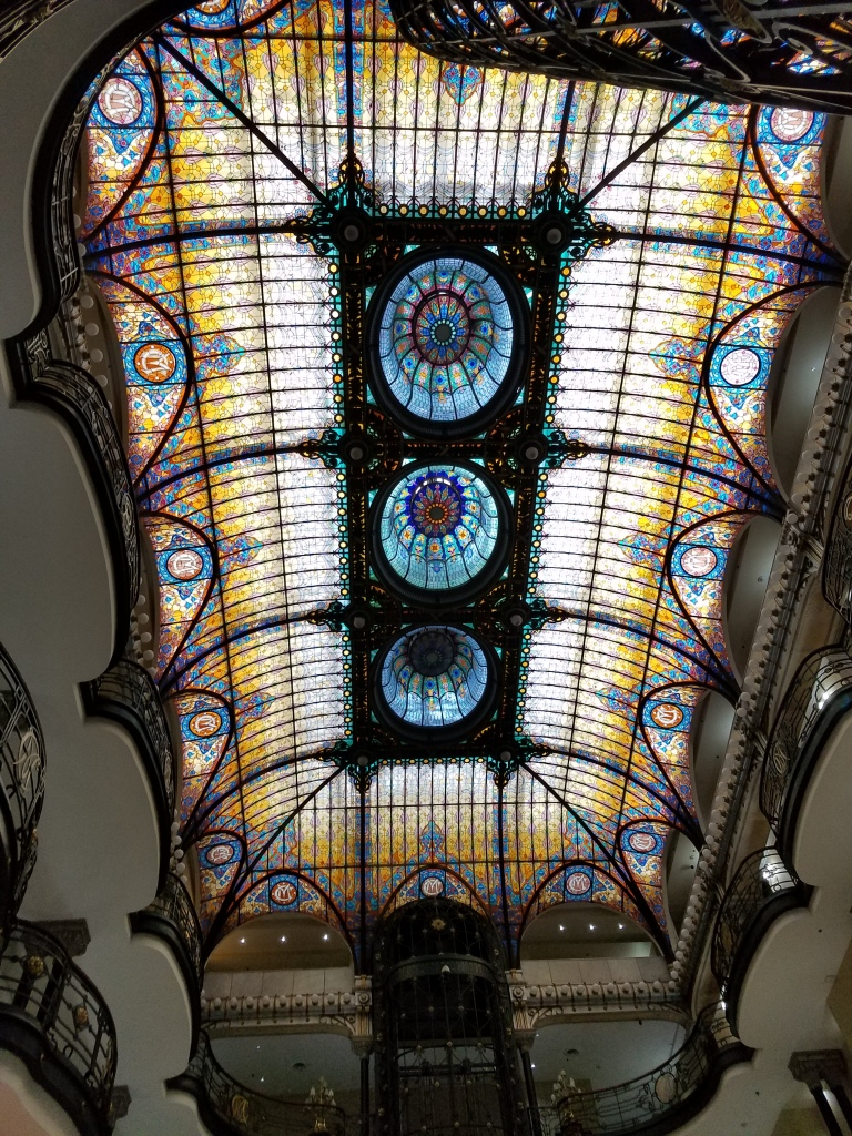 Stained glass ceiling in the hotel