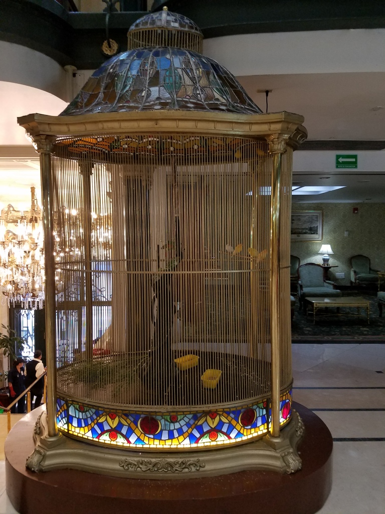 A bird cage in the hotel