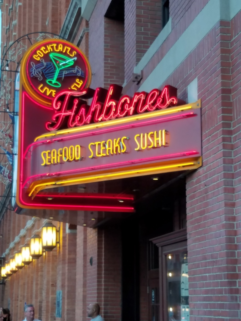 Dinner at Fishbones next to the hotel - the food wasn't as good as we had hoped, but it was a fun, lively atmosphere.