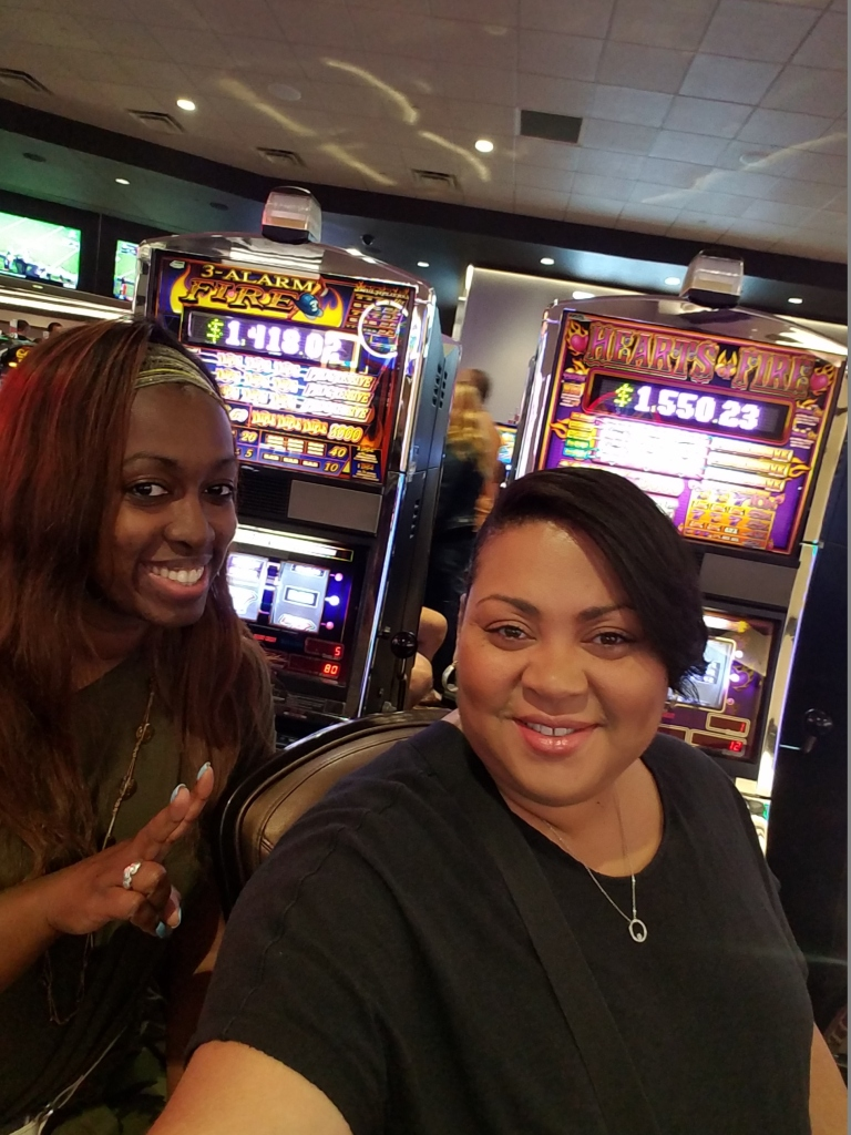 All smiles at Greektown Casino even though we were losing money!