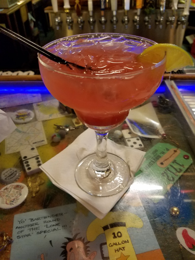 Bartender's specialty: strawberry margarita. It was very good!