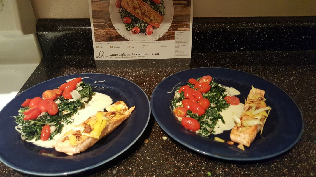 This meal was definitely a winner! Crispy Garlic and Lemon Crusted Salmon with Creamed Kale and Charred Grape Tomatoes
