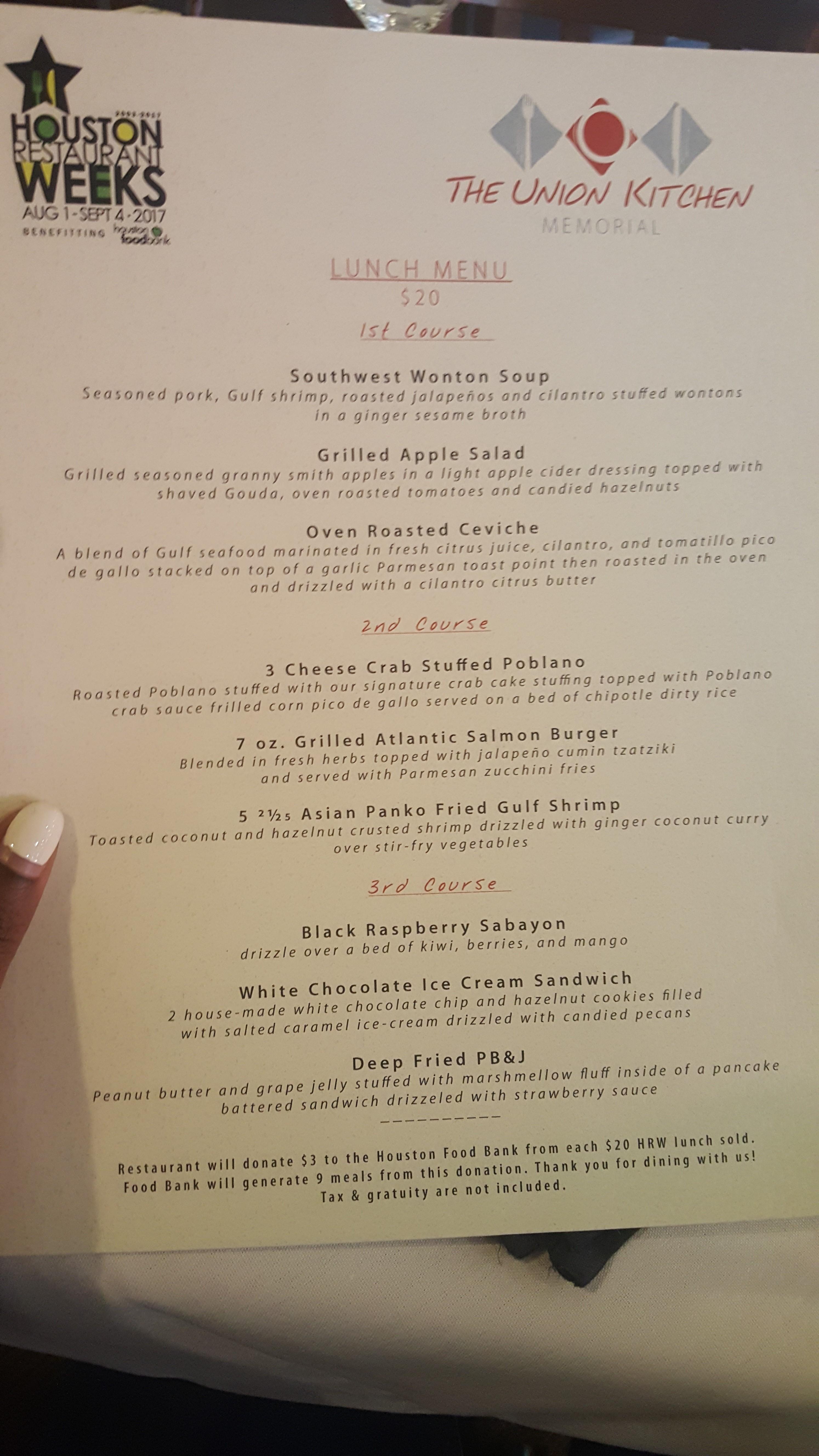 Houston Restaurant Weeks Review: Union Kitchen Memorial ...