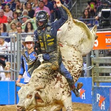 Sage Steele Kimzey of Strong City, OK, won the RODEOHOUSTON Super Shootout Bull Riding Championship.