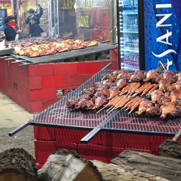 Turkey legs and sausage on a stick,